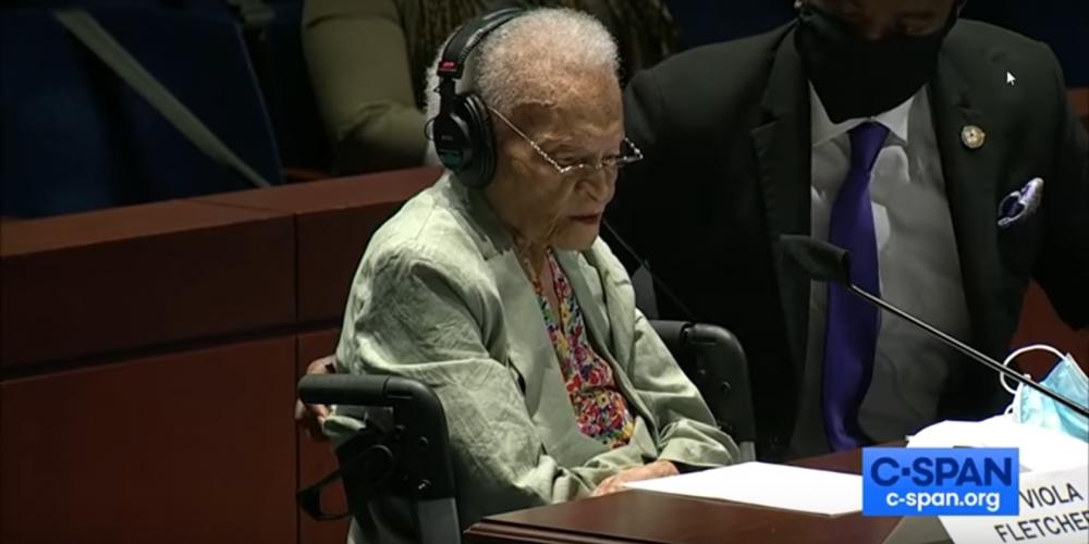 Viola Ford Fletcher testifying in Congress